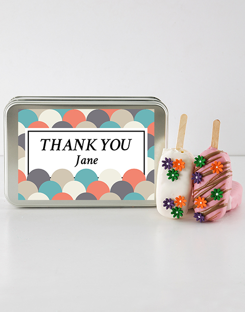 teachers-day: Thank You Cakes on a Stick in a Personalised Tin!