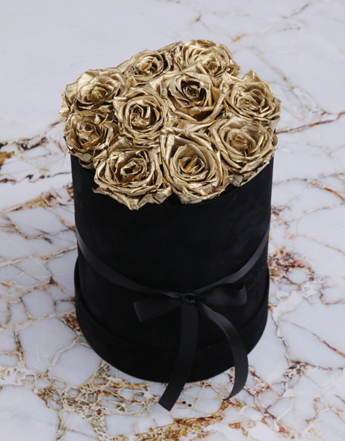 teachers-day: Large Black Suede Box with Gold Preserved Roses!