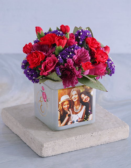 birthday: Personalised Bright Blooms in Initial Photo Vase!