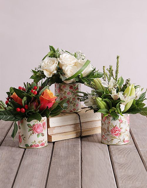 anniversary: Flowers in Printed Floral Tins!