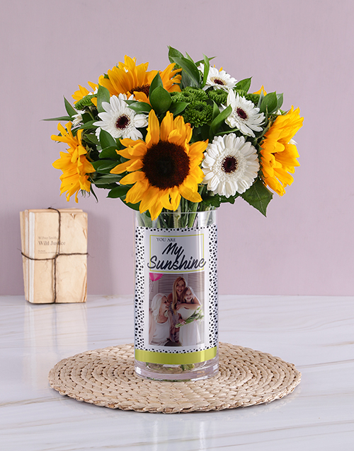 colour: Personalised My Sunshine Yellow Florals Photo Vase!